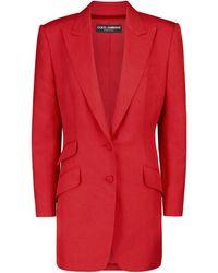 Dolce & Gabbana Blazer en soie et coton - Rouge