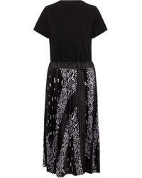 Sacai Bandana-print Midi Dress - Black
