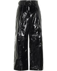 Self-Portrait High-rise Faux Patent-leather Pants - Black