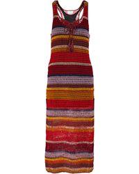 Anna Kosturova Marsala Striped Crochet Maxi Dress - Red