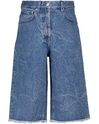Dries Van Noten High-Rise Jeansshorts - Blau