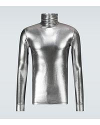 Raf Simons Jersey de cuello alto metalizado - Gris