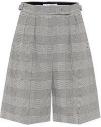 Max Mara Limone Checked Cotton Shorts - Grey