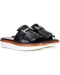 Tod's - Double T Leather Slides - Lyst