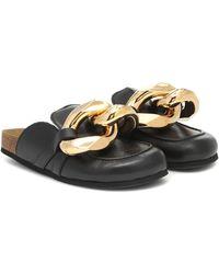 JW Anderson Slippers de piel con cadena - Negro