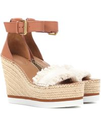 See By Chloé - Leather And Canvas Wedge Sandals - Lyst