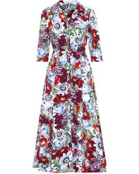 Erdem - Kasia Floral-printed Cotton Dress - Lyst