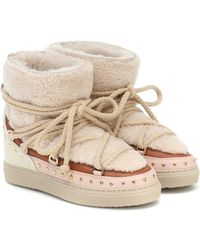 Inuikii Curly Rock Shearling And Leather Boots - Natural