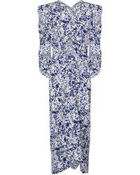 Isabel Marant Robe midi Albi imprimée en soie mélangée - Bleu