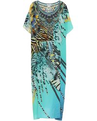 Camilla Cafetan long imprimé en soie à ornements - Multicolore
