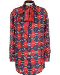 Gucci GG Waves Silk Shirt - Red