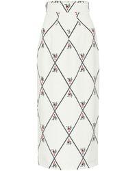 Emilia Wickstead Lorinda Georgette Pencil Skirt - White