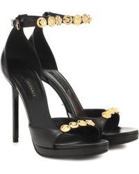 Versace Embellished Leather Sandals - Black