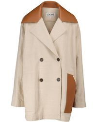 Loewe Cotton And Linen Canvas Jacket - Brown