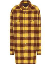 Rick Owens Checked Alpaca And Wool Coat - Yellow