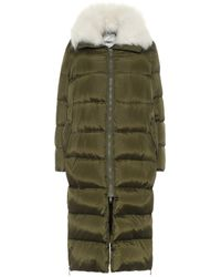 Yves Salomon Army Shearling-trimmed Down Coat - Green