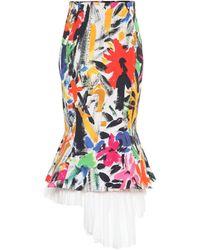 Marni Printed Cotton Asymmetric Midi Skirt - Multicolour