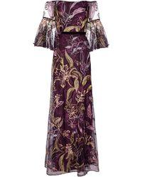 Marchesa notte Bestickte Robe aus Tüll - Lila