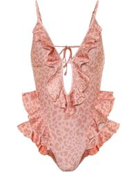 Zimmermann Exclusive To Mytheresa – Leopard-print Swimsuit - Pink