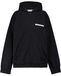 Balenciaga Sweat-shirt à capuche Turn en coton - Noir