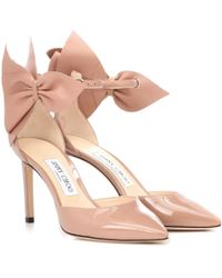 baf78bdae0b Jimmy Choo Vita 100 Patent Leather Lace-up Pumps in Pink - Lyst