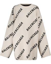 Balenciaga Pull en coton et laine mélangés à logo - Blanc