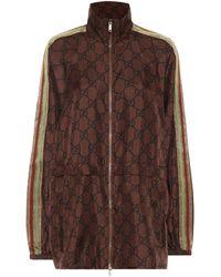 Gucci GG Supreme Printed Silk-twill Jacket - Brown