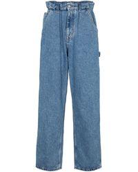 Miu Miu Jeans rectos de tiro alto - Azul