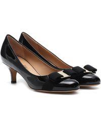 Ferragamo Carla 55 Patent Leather Court Shoes - Black
