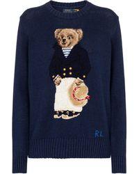 Polo Ralph Lauren Nautical Polo Bear Cotton And Linen Sweater - Blue