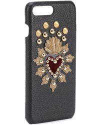 Dolce & Gabbana Custodia iPhone 7 Plus in pelle stampata con ricamo - Nero