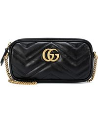 Gucci Gg Marmont 2.0 Leather Shoulder Bag - Black