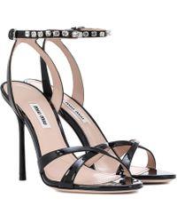 Miu Miu - Embellished Patent Leather Sandals - Lyst