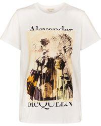 Alexander McQueen Camiseta de algodón estampado - Blanco