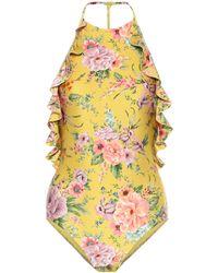Zimmermann Zinnia Ruffled Floral-print Swimsuit - Yellow