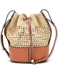 Loewe Paula's Ibiza - Secchiello Balloon Medium in rafia - Multicolore