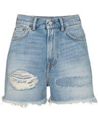 Acne Studios Distressed Denim Shorts - Blue