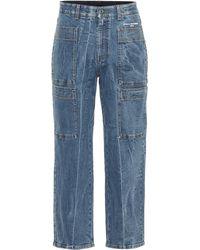 Stella McCartney Jean ample raccourci à taille haute - Bleu