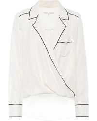 Veronica Beard Worth Silk Pyjama Shirt - White