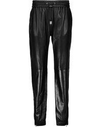 Saint Laurent Zip-cuff Leather Sweatpants - Black