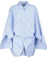 Balenciaga Camisa de popelín de algodón a rayas - Azul