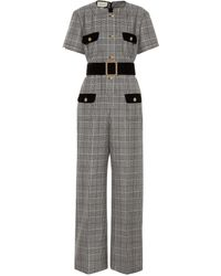 Gucci Belted Velvet-trimmed Prince Of Wales Checked Wool Jumpsuit - Gray