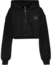 adidas By Stella McCartney Cotton-blend Cropped Hoodie - Black