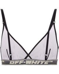 Off-White c/o Virgil Abloh Bralette in mesh con logo - Nero