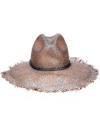 Brunello Cucinelli Leather-trimmed Straw Hat - Brown