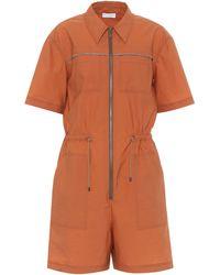 Brunello Cucinelli Exklusiv bei Mytheresa – Playsuit aus einem Baumwollgemisch - Orange