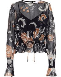See By Chloé Printed Silk And Cotton Blouse - Blue