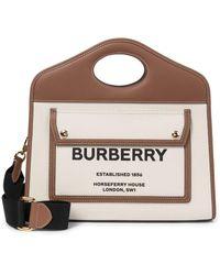 Burberry - Borsa Pocket Small in canvas e pelle - Lyst