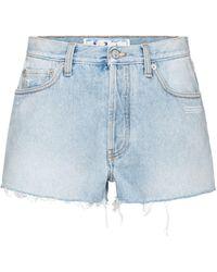 Off-White c/o Virgil Abloh High-Rise Jeansshorts - Blau