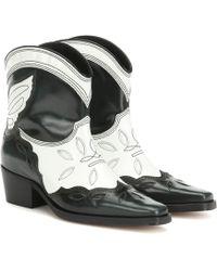 Ganni Ankle Boots Low Texas aus Leder - Mehrfarbig
